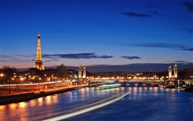 French, Paris, city night, lights, beautiful scenery HD wallpaper