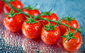 Fresh fruit, red tomatoes, water drops HD wallpaper