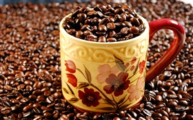 Full cup of coffee beans HD wallpaper