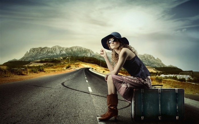 Girl with suitcase, sit at roadside Wallpapers Pictures Photos Images