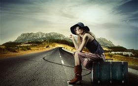 Girl with suitcase, sit at roadside HD wallpaper