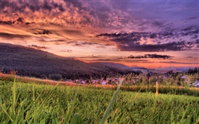 Grass, mountains, village, red sky, dusk, clouds HD wallpaper
