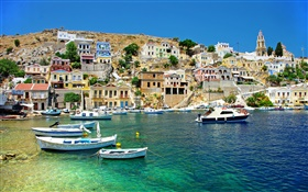 Greece, houses, coast, sea, boats HD wallpaper