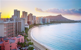 Honolulu, Waikiki Beach, Diamond Head Crater, buildings, sunrise HD wallpaper