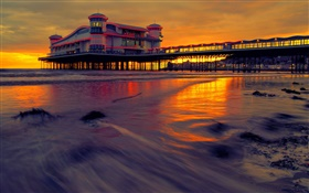 Hotel, sea, pier, beach, house, night, dusk