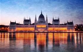 Hungary, Budapest, Parliament building, night, lights, Danube river, reflection HD wallpaper