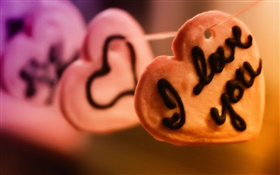 I love you, love hearts biscuits HD wallpaper