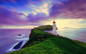 Iceland, Faroe Islands, lighthouse, coast, dusk, purple sky HD wallpaper