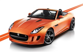Jaguar F-type orange car HD wallpaper