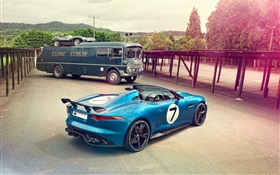 Jaguar Project 7 Concept blue car HD wallpaper