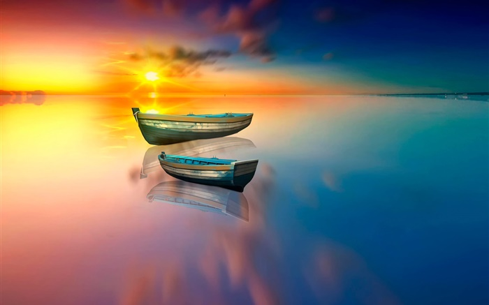 Lake, boat, water reflection, sunset Wallpapers Pictures Photos Images