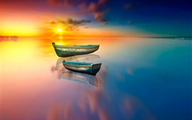 Lake, boat, water reflection, sunset HD wallpaper