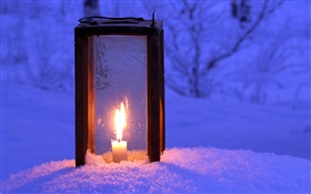 Lit lantern, candle, snow, night HD wallpaper