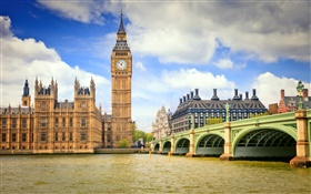 London, England, city, bridge, river, Big ben HD wallpaper