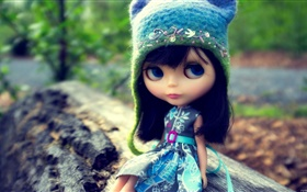 Lovely toy girl, doll, hat HD wallpaper