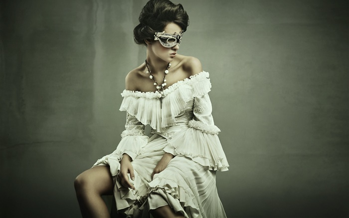 Masked white dress girl Wallpapers Pictures Photos Images