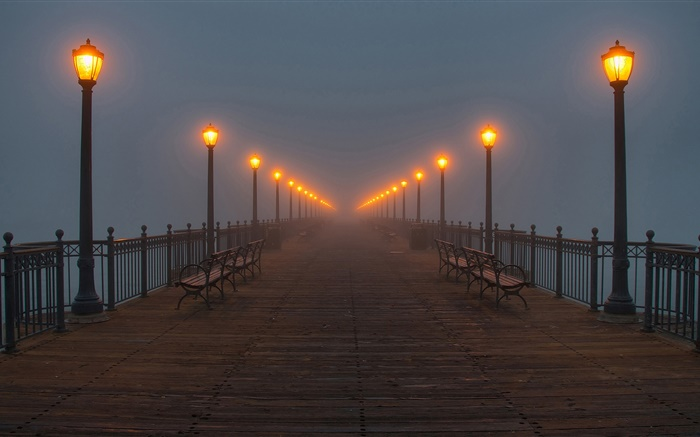 Night, bridge, pier, lights, mist Wallpapers Pictures Photos Images
