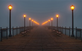 Night, bridge, pier, lights, mist HD wallpaper