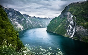 Norway Geiranger Fjord, beautiful landscape HD wallpaper