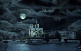 Notre Dame, France, night, river, moon