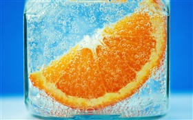 Orange slices in the water, blue background, bubble HD wallpaper