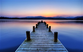 Pier, wood bridge, lake, mountains, sunrise HD wallpaper