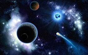 Planets, stars, cosmic HD wallpaper