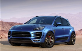Porsche Macan Ursa 95B blue car side view HD wallpaper