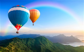 Rainbow colors hot air balloons, sky HD wallpaper