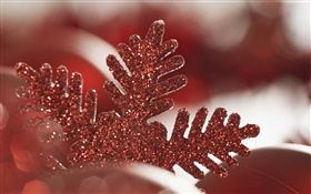 Red Christmas snowflake decoration HD wallpaper