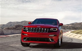 Red Jeep Grand Cherokee SRT car front view HD wallpaper
