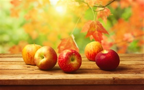 Red apples, wooden table, autumn, leaves HD wallpaper