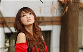 Red dress Asian girl in the autumn HD wallpaper