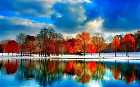 River, trees, autumn, clouds, snow, blue sky HD wallpaper