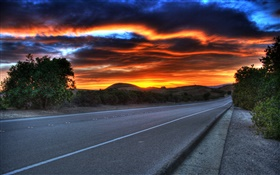 Road, dusk, clouds, red sky