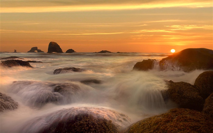 Sea, coast, stones, stream, clouds, sunrise Wallpapers Pictures Photos Images