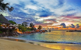 Seychelles Island, resort house, night, lights, sea, beach