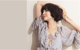 Short hair fashion girl, gray dress HD wallpaper