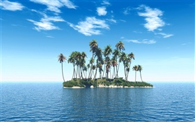 Small island, palm trees, sea HD wallpaper