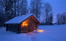 Snow, wooden house, bare trees, winter, night, Sweden HD wallpaper