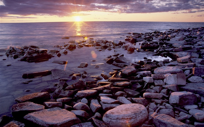 Stones, coast, sea, sunrise, clouds Wallpapers Pictures Photos Images