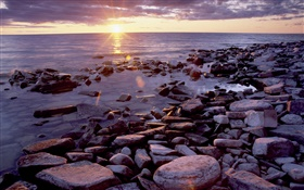 Stones, coast, sea, sunrise, clouds