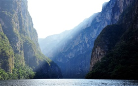 Sumidero Canyon, Mexico, river, mountains, cliff, sun rays HD wallpaper