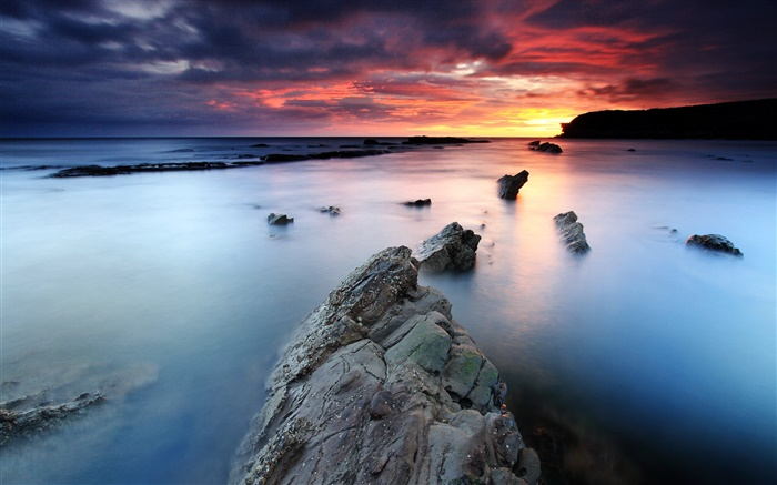 Sunrise, Collywell Bay, sea, red sky, Northumberland, England, UK Wallpapers Pictures Photos Images