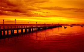 Sunset, pier, red style, boats, river HD wallpaper