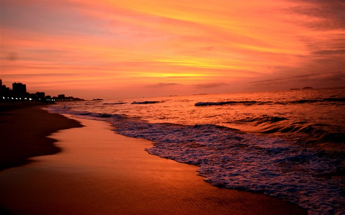 Sunset, sea, dusk, waves, red sky Wallpapers Pictures Photos Images