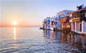 Sunset, sea, house, Little Venice, Mykonos, Greece
