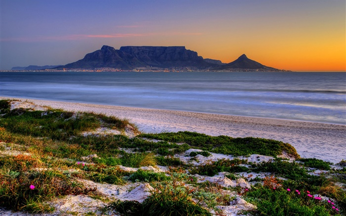 Table Bay, Cape Town, South Africa, beach, sea, dusk Wallpapers Pictures Photos Images