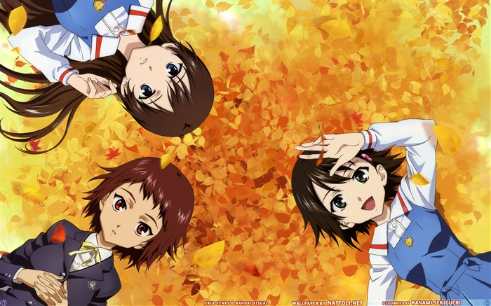 Three anime girls lying ground Wallpapers Pictures Photos Images