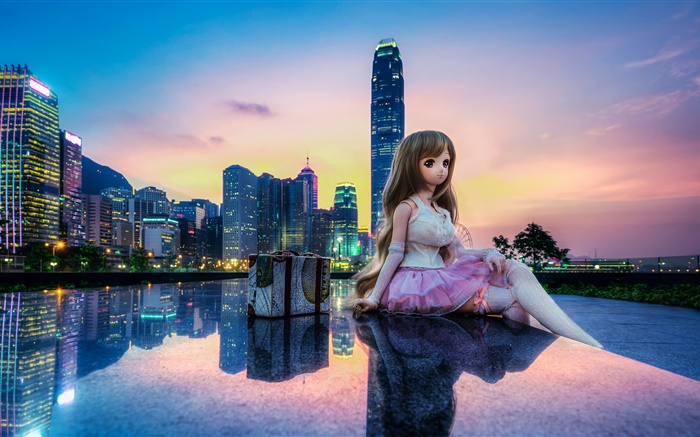 Toy, doll, beautiful girl, city, buildings, Hong Kong Wallpapers Pictures Photos Images